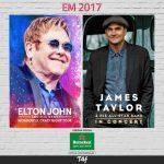 Elton John e James Taylor no Brasil em 2017