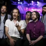 """Brandon Boyd(2nd-L), of Incubus talks with members of the media durinig the Live Nation Celebration of National Concert Day at Irving Plaza on May 05, 2015 in New York. National Concert Day, according to a press release, is """"a day to recognize not only fans but also music artists, live music industry leaders, tour managers and their teams as well as all the hard-working employees at venues across the country that work tirelessly to produce all the incredible music experiences that will be seen this summer."""" AFP PHOTO / KENA BETANCUR / AFP PHOTO / KENA BETANCUR"""